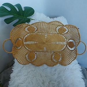 Vintage Bohemian Boho Wicker and Wire Basket